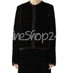 New Woman Balmain Black Full Quilted Silver Studded Suede Leather Jacket Skirt