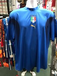 Italy Home Blue/black/gold Soccer Jersey 2006 Size L Men's Only