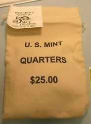 2004-p Wisconsin Quaters 100 Coin Bag Unopened Mint Bu Uncirculated /free Ship
