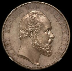 1871 Germany Wurttemberg Ulm Cathedral 2 Thaler Silver Coin Ngc Au 55 - Km 618
