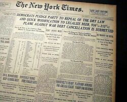 Prohibition Repeal Legalize Beer And Liquor As A Political Ploy 1932 Newspaper