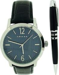 Cross Mason Gents Blue Dial Black Leather Strap Watch And Black Pen Gift Set