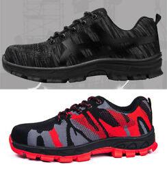 Mens Safety Shoes Steel Toe Fashion Work Boots Breathable Hiking Climbing Shoes