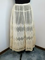 Beautiful Antique Skirt  circa 1900s Skirt  Edwardian Embroidered Lace- Bridal $72.00
