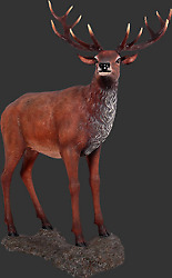 73.5 Life Size Red Stag Deer On Base Resin Statue Zoo Prop Display Figurine