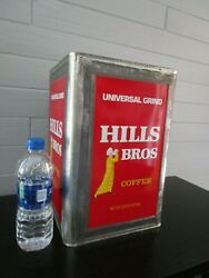Rare Vintage Large 20 Lb. Commercial Hills Bros Coffee Advertising Tin Can