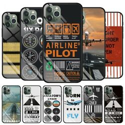 Airplane Fly Travel Pilot Tempered Case For Iphone 11 Pro Xs Max Xr X 6 7 8 Plus