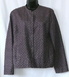 Vintage Eileen Fisher Quilted Plum Silk Jacket Magnetic Closure - Sz S Exc