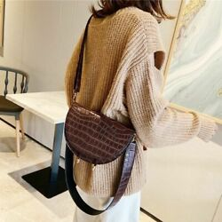 Women#x27;s Mini Cross Body Bags Leather Crocodile Pattern Saddle Handbag Backpack $38.49