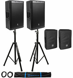 2 Mackie Srm550 1600w 12 Powered Pa Speakers-bi-amped+2 Dust Covers+stands