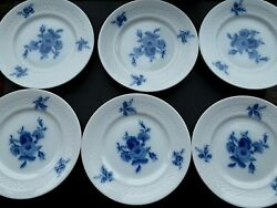 Set Of 6 Hutschenreuther Evensong Blue Rose Bread Plate 6 1/4