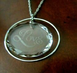 Vintage 1979 Hallmark Lead Crystal Floating quot;A Token of Lovequot; Pendant Necklace
