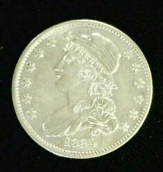 1834 Capped Bust Silver Quarter Bu White Cleaned And Reverse Scratch 9094