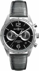 Bell And Ross Vintage Grey Leather Strap Men's Watch Brv126-bs-st/scr2