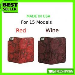 Unique Wild Rose Iphone Leather Wallet Case For 8 7 6 6s Plus X Xr Xs 11 Pro Max
