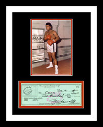 Muhammad Ali Signed Bank Check And 11x14 Custom Photo Display You Frame It