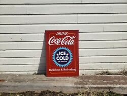 Double Sided Drink Coca-cola Sign Soda Bottle Fountain Store Ice
