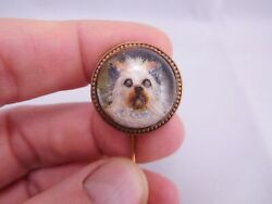 SUPER RARE ANTIQUE 14K GOLD ESSEX ROCK CRYSTAL CAIRN TERRIER TOTO DOG CANINE PIN