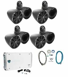 2 Pairs Kicker 6.5 Wakeboard Component Speakers+6 Channel Amplifier+amp Kit