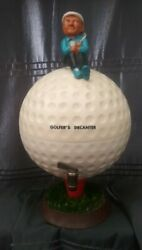 Liquor Whiskey Golfer Sitting On Golf Ball Decanter With Spout