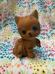 Vintage Flocked Ceramic Tabby Kitten Cat Japan