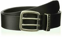 Men's Leather Two Prong Casual 1 1/2 Inch Belt Black Size 44