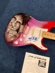 Keith Richards Rolling Stones Signed Fender Stratocaster Guitar Psa Painted