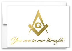 Masonic Get Well Greeting Note/ Card- Gold Foil- With Envelopes - Set Of 10