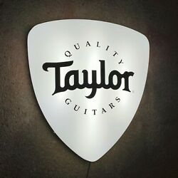 Taylor Guitars Plectrum Light Up Led Wall Sign Music Studio Instrument Electric