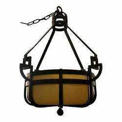 Signed Paul Ferrante Pounded Wrought Iron Manhattan Iii Chandelier