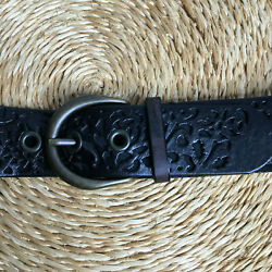 Fossil Black Soft Leather Tooled Design WesternCasual Large 1.5