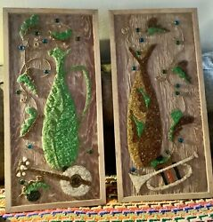 Vtg Gravel Pebble Art Wall Hanging Picture Mcm Wood Frame Painting Mid Century