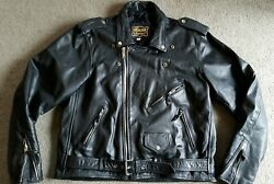 Genuine Leathers Motorcycle Jacket Perfecto sz XL Worcester 6 Firefighters Patch