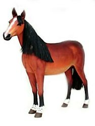 6and039 Life Size Brown Horse With Black Mane Statue Farm Statue Display Figurine