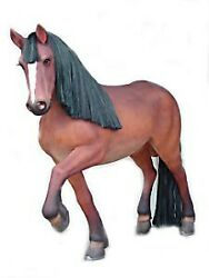 6and039 Brown Working Horse With Black Mane Life Size Resin Statue Prop Display
