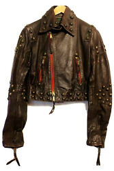 Dsquared2 Red Burgundy Studded Leather Jacket Size 40 Rare