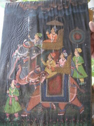 India - Paintings On Cloth Pasted On Board - 6 In 1 Lot