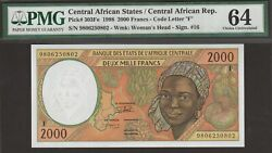 Pmg-64 Choice Unc Central African States 2000 Francs 1998 P-303fe Cent Afr Rep