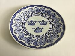 Antique Blue And White Plate By Gustafsbergsweden 1897 Three Crownsthe Symbol
