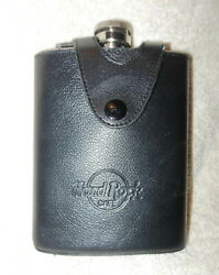 Stainless Steel Hard Rock Cafe Liquor Alcohol Flask With Blk Leather Cover New
