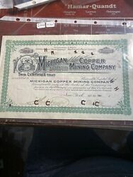 289 Green Michigan Copper Mining Stock Certificate 1901