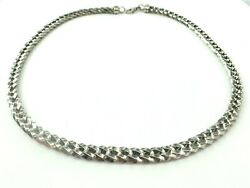 Italian 14k White Gold Fancy Weaving Curb Link Necklace..16 7/8..21.5gm Italy