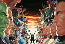 Alex Ross Rare Absolute Justice Battle Oversized Canvas Unframed Signed Coa