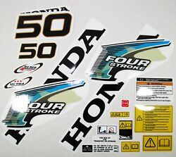 Decal Set Kit Honda Bf 50 Outboard Stickers For Cowl 63100-zv5-010za 1997-2003