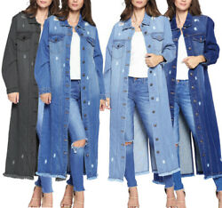 Womenand039s Classic Distressed Cotton Denim Button Up Oversized Long Jean Jacket