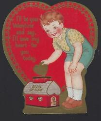 Little Boy Putting Heart In Bank Of Love Vintage Heart Shaped Valentine Card