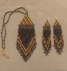 Handmade African Native American Beaded Necklace And Earrings