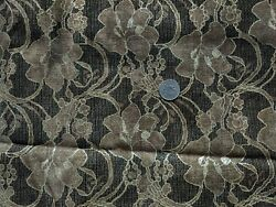 Vintage Upholstery Floral Fabric Silver Metallic 54 Inches New Old Stock