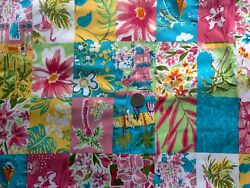 Vintage Upholstery Summer Floral Fabric Patchwork Blocks 54 Inches New Old Stock