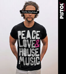 Pistol Boutique Menand039s Rolled Sleeve Black Crew Peace Love And House Music T-shirt